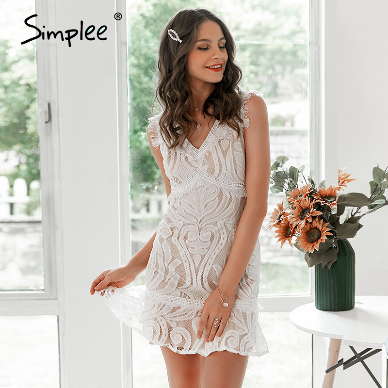 Simplee v neck flower lace embroidery women dress Summer holiday beach female a-line dresses Ruffled white retro dress