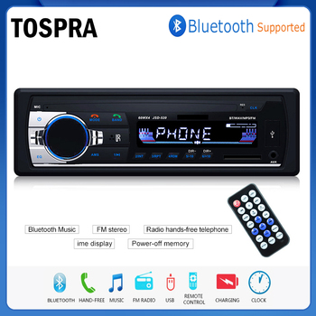 TOSPRA Bluetooth Autoradio Car Stereo Radio FM Aux Input Receiver SD USB JSD-520 12V In-dash 1 din Car MP3 Multimedia Player image
