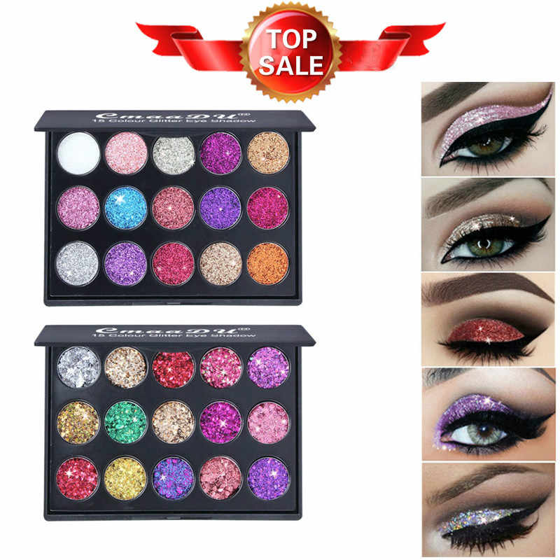 15 Warna Berlian Paillette Eyeshadow Palet Gloss Tinggi Shimmer Eye Shadow Tahan Air Kosmetik Kecantikan Makeup Bubuk TSLM2