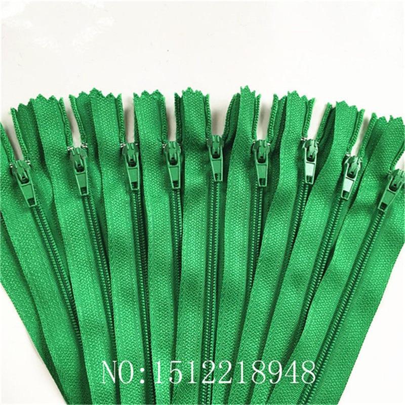 10 шт. 3 дюйма-24 дюйма(7,5 см-60 см) нейлоновые застежки-молнии для шитья на заказ нейлоновые молнии оптом 20 цветов - Цвет: grass green