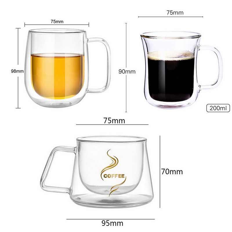 二重壁コーヒーマグカップ、スプーン茶ミルクビール Drophipping コーヒーカップセットマグドリンクオフィス断熱ダブルガラス 200 ミリリットル