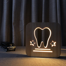 Big teeth warm LED night light solid wood pine carved hollow table lamp creative USB bedroom decorative mood gift