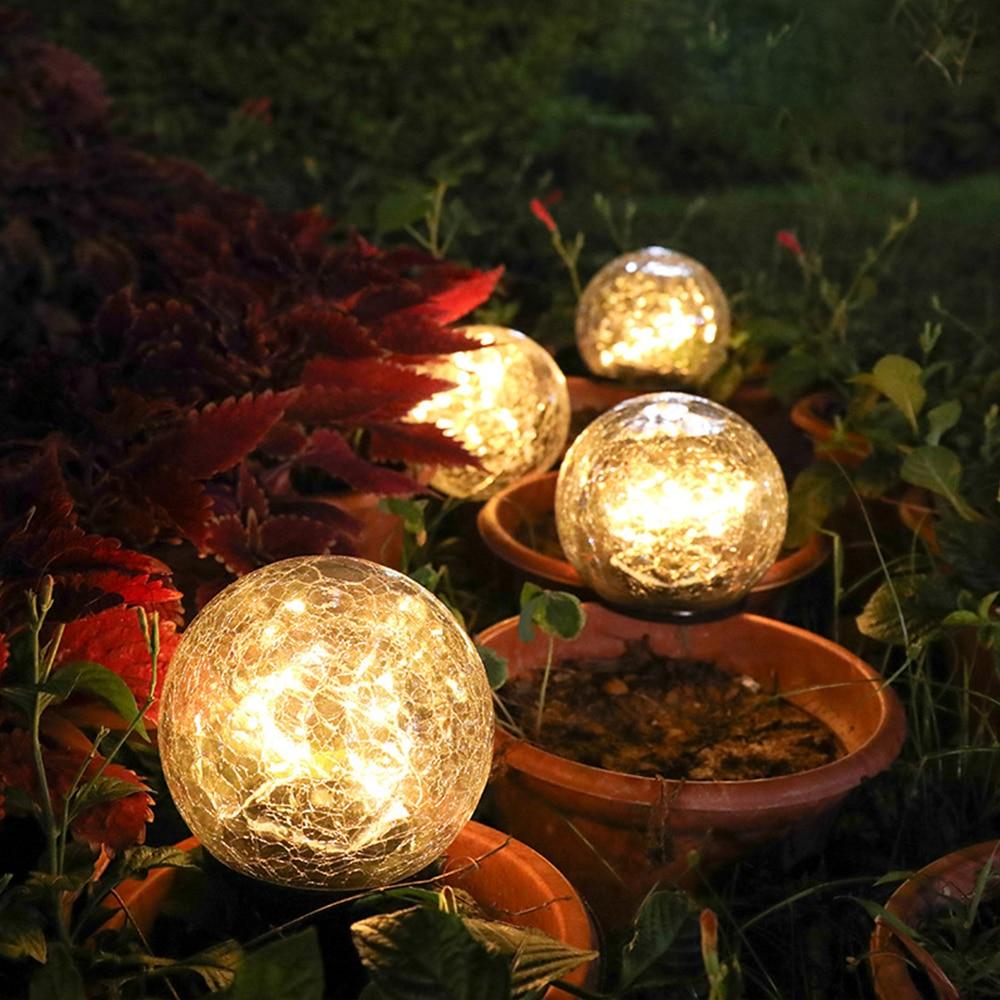 Cracked Glass Ball LED Solar Light Solar Power Garden Light Outdoor Waterproof Ground Lamp Buried Light For Yard Lawn|Solar Lamps|   - AliExpress