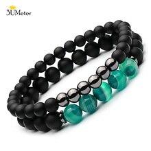 2PCS Natural Striped Agates Matte Black Onyx Beaded Bracelet for Women Men Stone Hematite Jewelry Pulseras