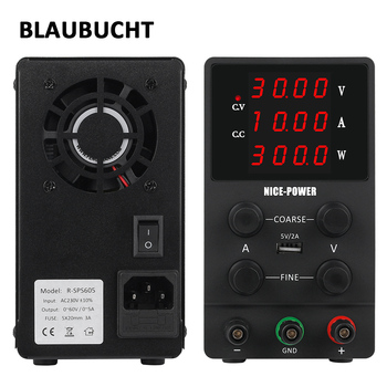 BLAUBUCHT 4 Digits Lab Switching Power Supply Adjustable 30V 10A 60V 5A Voltage Regulator DC laboratory Power Source 120V 3A image