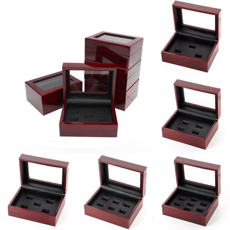 2020 HOT Selling Jewelry Boxes Wooden Display Box For World Series Cup Championship Ring 1/3/4/5/holes High Quality