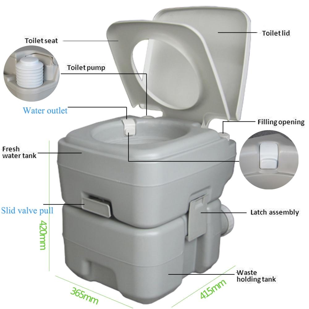 CHH 1020T 20L Portable amovible chasse d'eau toilettes mises à niveau en plein air Portable toilette randonnée Camping pot pour voyage US Stock - 5