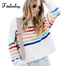 Fitshinling Rainbow Striped Autumn Winter Sweaters Women Pullovers Knitwear 2019 Boho Holiday Slim Jumper Basic Pull Femme Sale
