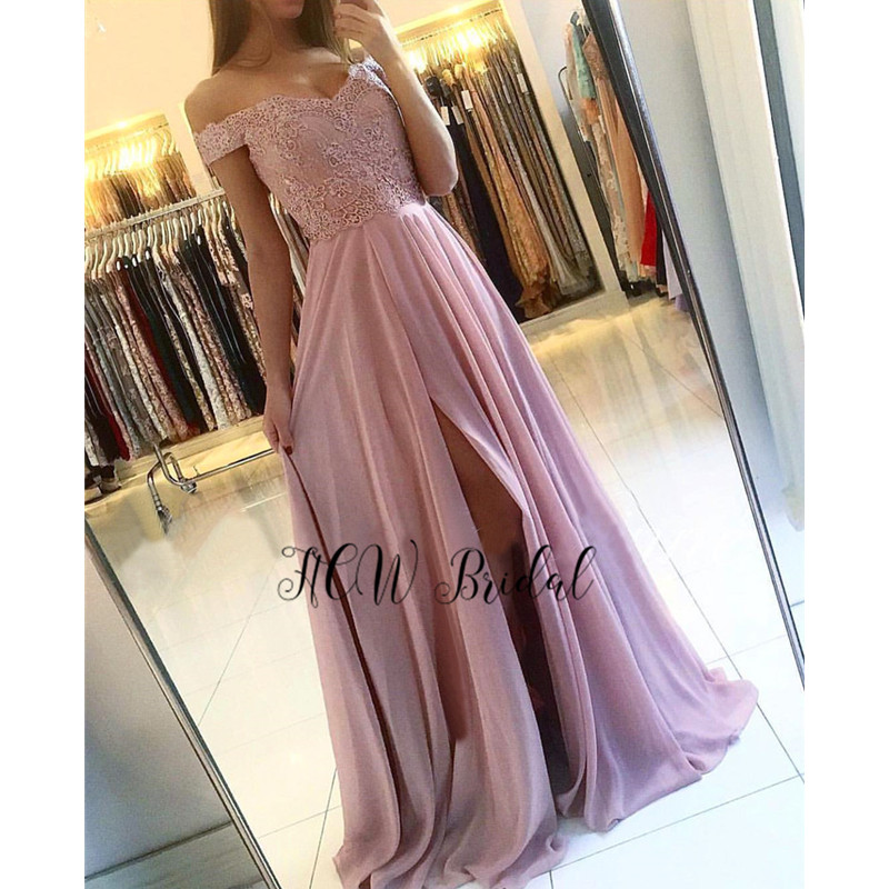 Dusty Pink Long Formal   Evening     Dress   Off The Shoulder Boat Neck A Line Chiffon Prom Gowns 2019 Hot Selling Women Party   Dresses