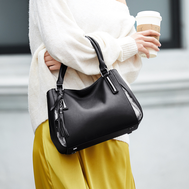 ZOOLER top genuine leather bags elegant Handbags women luxury brand bag Cow leather women tote bag 2020 designer Bags purse#h105