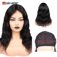Wignee 4*4 Lace Closure Natural Wave Human Hair Wigs For Black Women Brazilian Remy Hair Average Cap Middle Part Lace Human Wig stylish middle part long slightly curled siv human hair capless wig for women