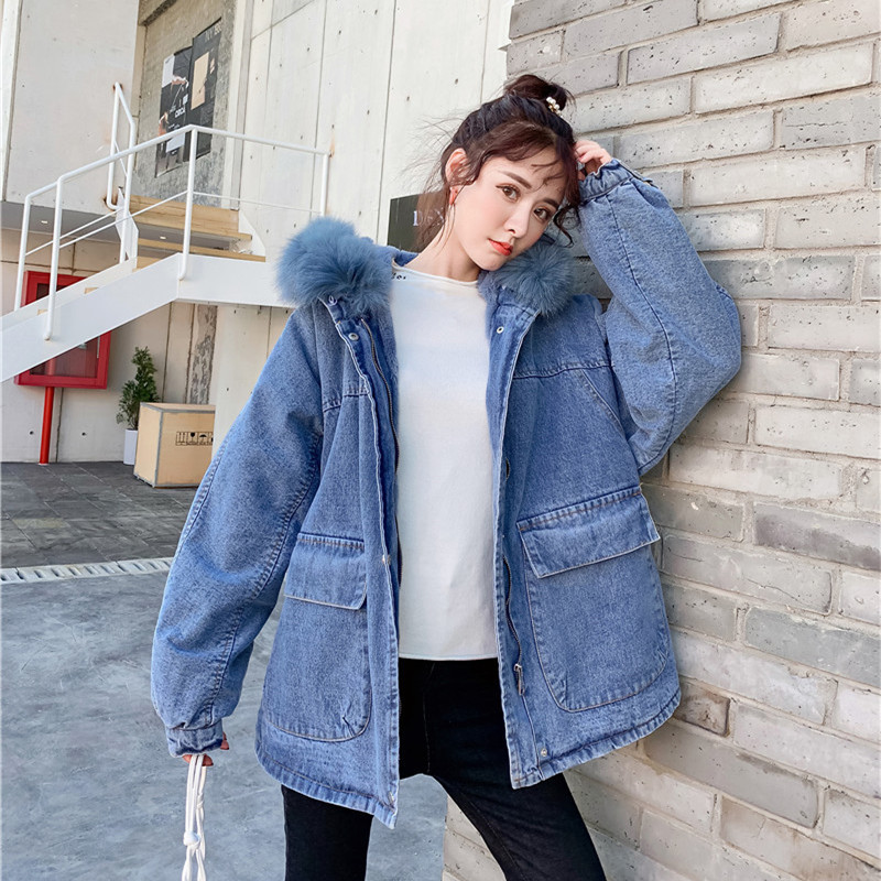 2019 Winter Hooded Oversized Genuine Fur Collar Rabbit Fur Cowboy Cotton-padded Clothes Women's Mid-length Plus