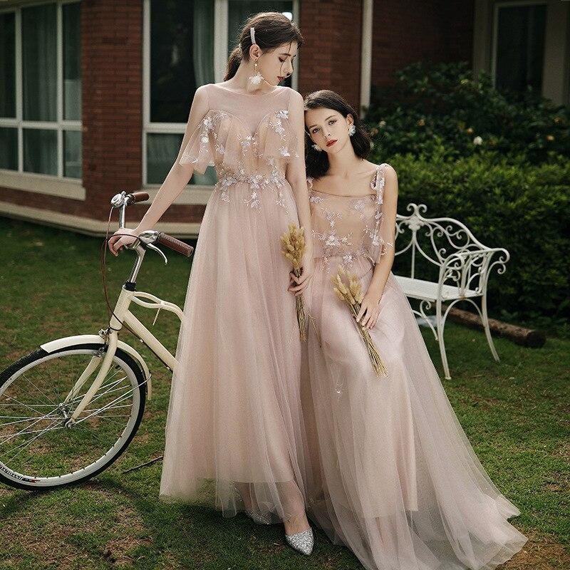 6 Styles Bridesmaids Dress A-Line Pink Vestido De Fiesta Elegant Long Dress Robe De Soiree Formal Prom Dress TS-001