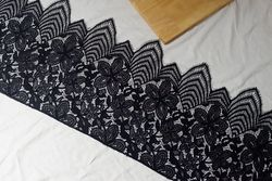 eyelash chantilly Lace 300cm lace fabric Mesh black&white Lace trim Decoration Crafts Sewing Lace For Wedding Making Decoration