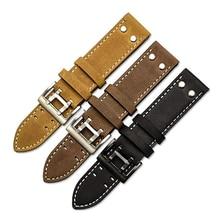 Handmade Vintage Crazy Horse Watch Strap Military Pilot Khaki Black Fie