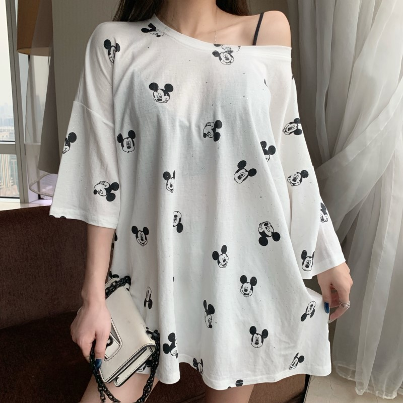 Women Autumn Summer Plus Size Dress Streetwear Casual Loose Minnie Mickey Cartoon Sequin Party Club Mini Dresses Black White in Dresses from Women 39 s Clothing