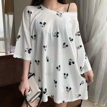 Women Autumn Summer Plus Size Dress Streetwear Casual Loose Minnie Mickey Cartoon Sequin Party Club Mini Dresses Black White