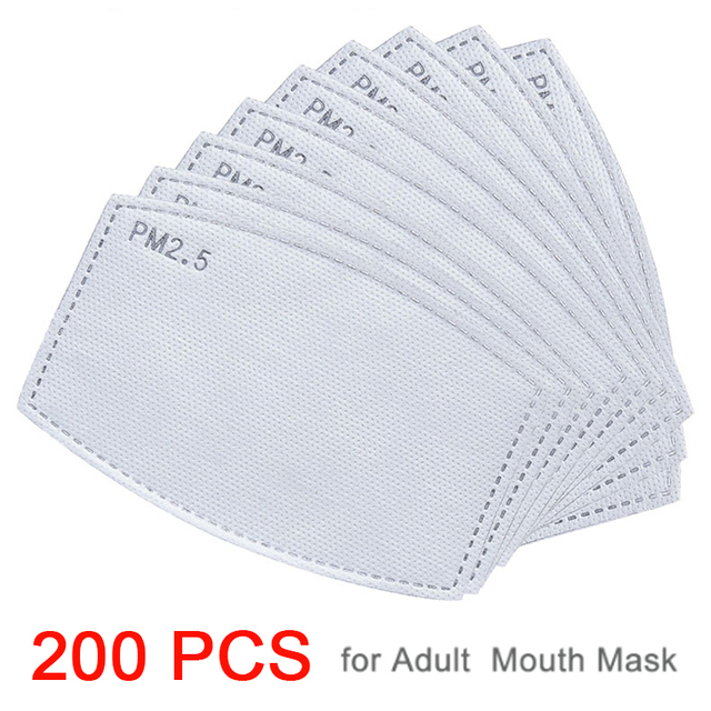 200PCS/SET 6 Layer PM2.5 Filter Activated Carbon Filter for Mouth Mask Dust Mask Filter Protective Filter Media Flu-proof Filter 1