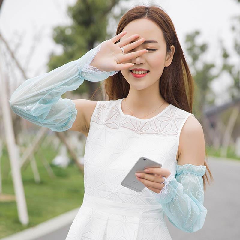 Calymel Summer Women Anti-UV Sun Block Thin Lace Gloves Sunscreen Long Lace Gloves Female Sleeve Ladies Driving