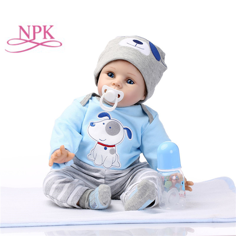 Npk 22 polegada 55cm silicone bonecas reborn lifelike bebê boneca meninos recém-nascido moda boneca presente de natal ano novo presente
