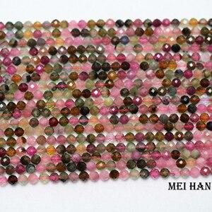 Image 2 - טבעי כיתה 4mm (2 גדילים/סט) צבעוני טורמלין פיאות עגול בעבודת יד loose חרוזים עבור תכשיטי ביצוע עיצוב אבן DIY