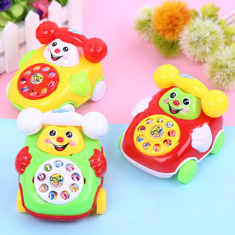 Children's Simulation Phone Toys Kids Baby Cartoon Pull Line Phone Gift Develop Intelligence Education Toys