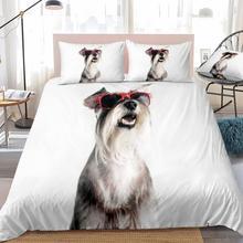 3D Schnauzer Bedding Kids Boys Girls Schnauzer Dog in Red Sunglasses