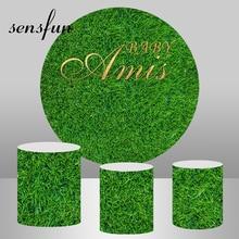 Círculo redondo verde grama backdrops para festa de aniversário do casamento fundos plinth cobre photocall personalizado