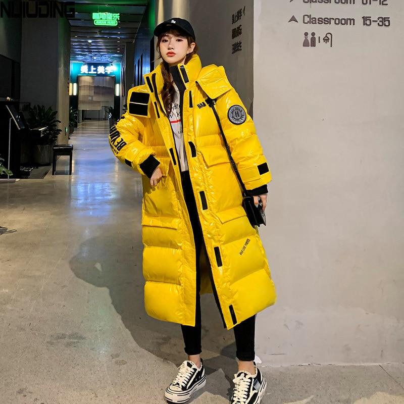 NIJIUDING 2020 Winter New Korean Version of The Loose Long Cotton Jacket Thickened Slim Cotton Coat Female Knee-length Coat