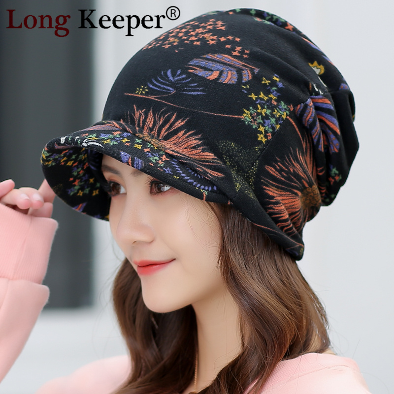 2019 New Caps For Women Print Visor Beanies Cap Warm Fashion Cold Weather Hats Elegant Autumn Winter Hats Warm Thick New