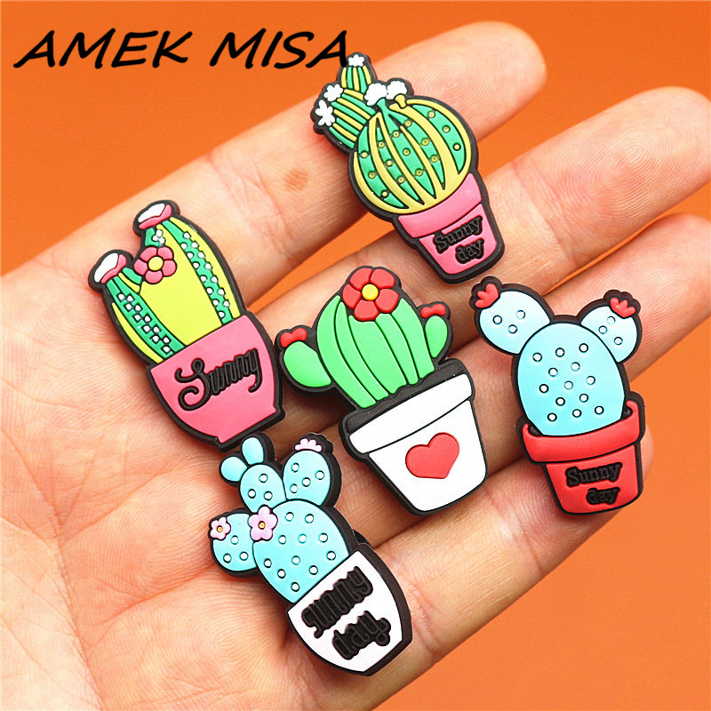 1pcs Lovely Cactus PVC Shoe Charms Vegetation Shoes Accessories Shoe Decoration Buckles Fit Bands Bracelets Croc JIBZ Kids Gift