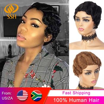 Krótki palec fala tanie peruki dla kobiet Remy włosy naturalne fryzura Pixie peruka peruka z naturalnych krótkich włosów maszyna wykonana Mix kolor 1B 2 #27 # 99J # tanie i dobre opinie CN (pochodzenie) Luźne fale Brazylijski włosy Średnia wielkość Średni brąz Ciemniejszy kolor tylko Elastyczne koronki