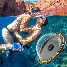 TELESIN Dome Port 30M Waterproof Diving Cover Housing Case 6 Inch Floating Handle Trigger for GoPro Hero 8 Camera Accessories