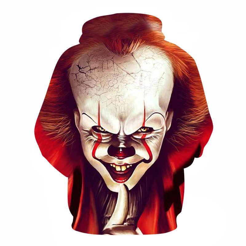 2019 Nieuwe Collectie Horror Film Kind Spelen Karakter Chucky 3D Gedrukt Fashion Hoodies Mannen Vrouwen joker Clown Streetwear Hooded