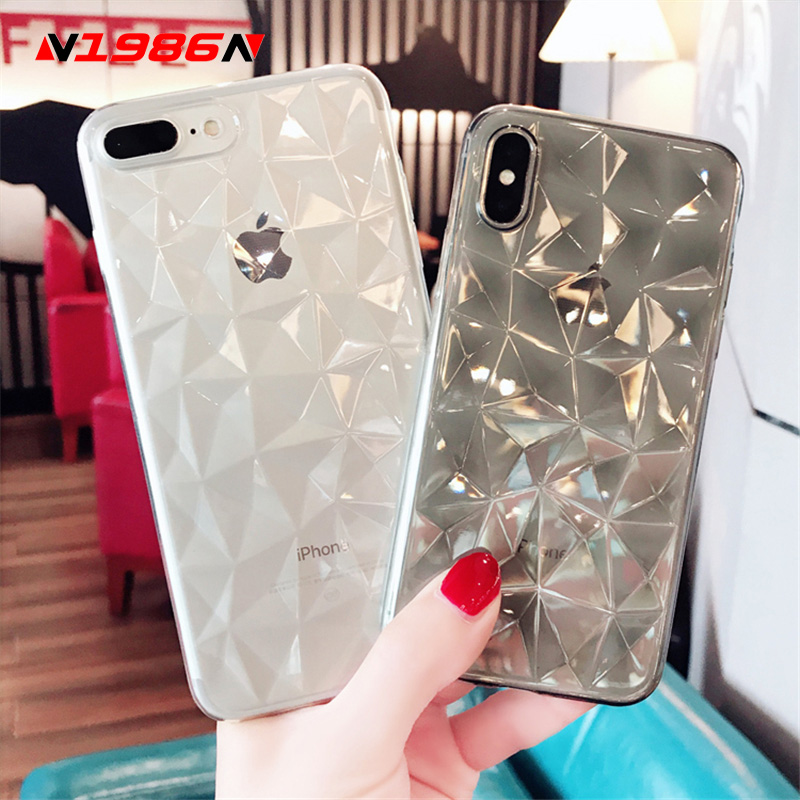 N1986N For IPhone 6 6s 7 8 Plus X XR XS Max Phone Case Luxury Diamond Texture Transparent Ultra Thin Soft TPU Case For IPhone X