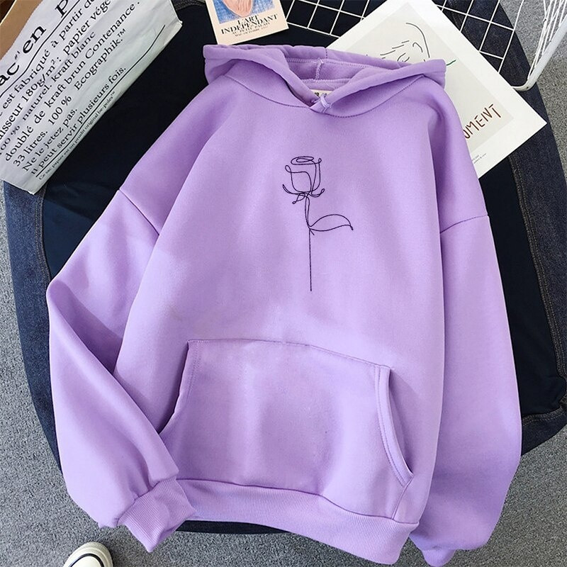Rose Printed Hoodies Sweatshirts Women Long Sleeve Casual Autumn Winter Pullovers Pockets Street Loose plus velvet