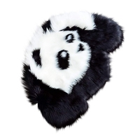 Panda tapete artificial pele de carneiro peludo tapete para sala de estar pele de ovelha liso macio área tapetes lavável quarto do falso tapete do jogo do bebê