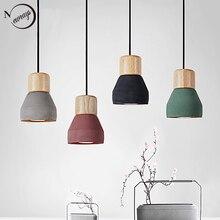 4 kolor krótki Loft styl skandynawski drewno Cement wisiorek światła nowoczesne oświetlenie led E27 przewód lampa restauracja salon cafe sypialnia