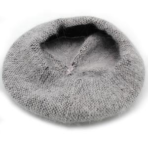 Image 3 - [Rancyword]  Fashion New Women Angora rabbit Solid Color Beret Female Bonnet Caps Winter All Matched Warm Walking Hat Beanie Hat