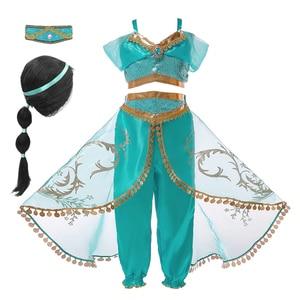 Princess Jasmine Cosplay Dress up for Girls Kids Halloween Fantasy Top Pants Costume 2pcs Set Lace Casua Sleeveless Dresses(China)