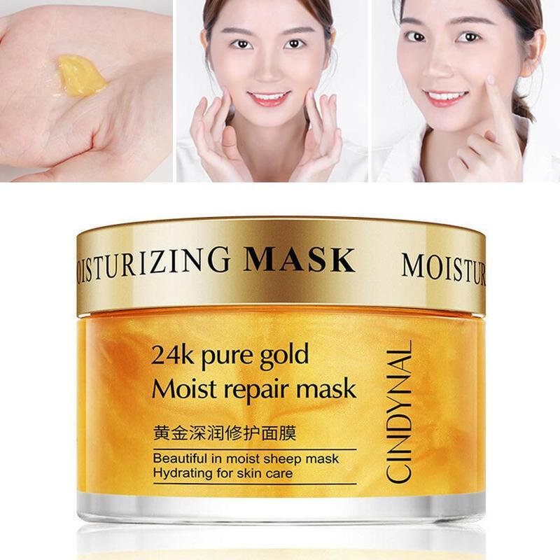 24k Золотая маска для лица с коллагеном, против морщин, для восстановления сна, маска для лица, лифтинг, отбеливающая, сужает поры, увлажняющая...