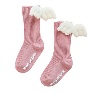 Image 4 - Baby Kids Socks Angel Wing Child Long Knee Sock For Girls Child Vertical Stripedr Hose Candy Color Toddler Sock For 0 5Y