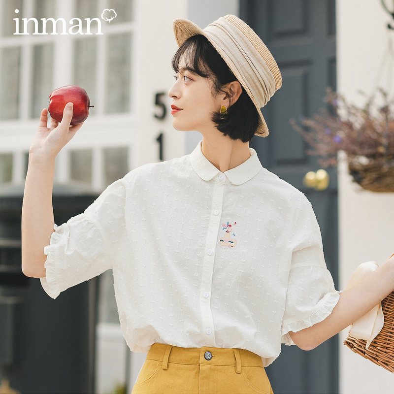 INMAN 2020 Summer New Arrival Stringy Selvedge Literary Embroidered Girlish Short Sleeve Blouse