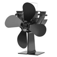 Черный камин 4 лопасти Тепловая плита вентилятор кастаньеты горелки экологичный тихий вентилятор домашний эффективный распределительный вентилятор