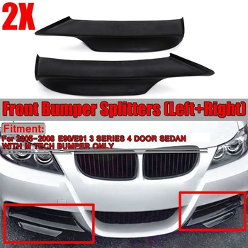 2X Black Car Front Bumper Lip Splitter For-BMW E90 E91 3 Series 4Dr Sedan M-Tech 2005-2008 Bumper Spoiler Diffuser Lip image
