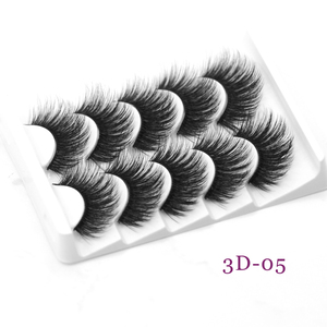 DamePapil Natural Long Faux Mink Thick Lashes Hand Made Wholesale Fluffy Soft 8d Natural False Eyelashes 5 Pairs Strip Lash Set(China)