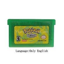 Nintendo GBA 비디오 게임 카트리지 콘솔 카드 Poke 시리즈 LeafGreen 영어/이탈리아어/독일어/프랑스어/스페인어 언어