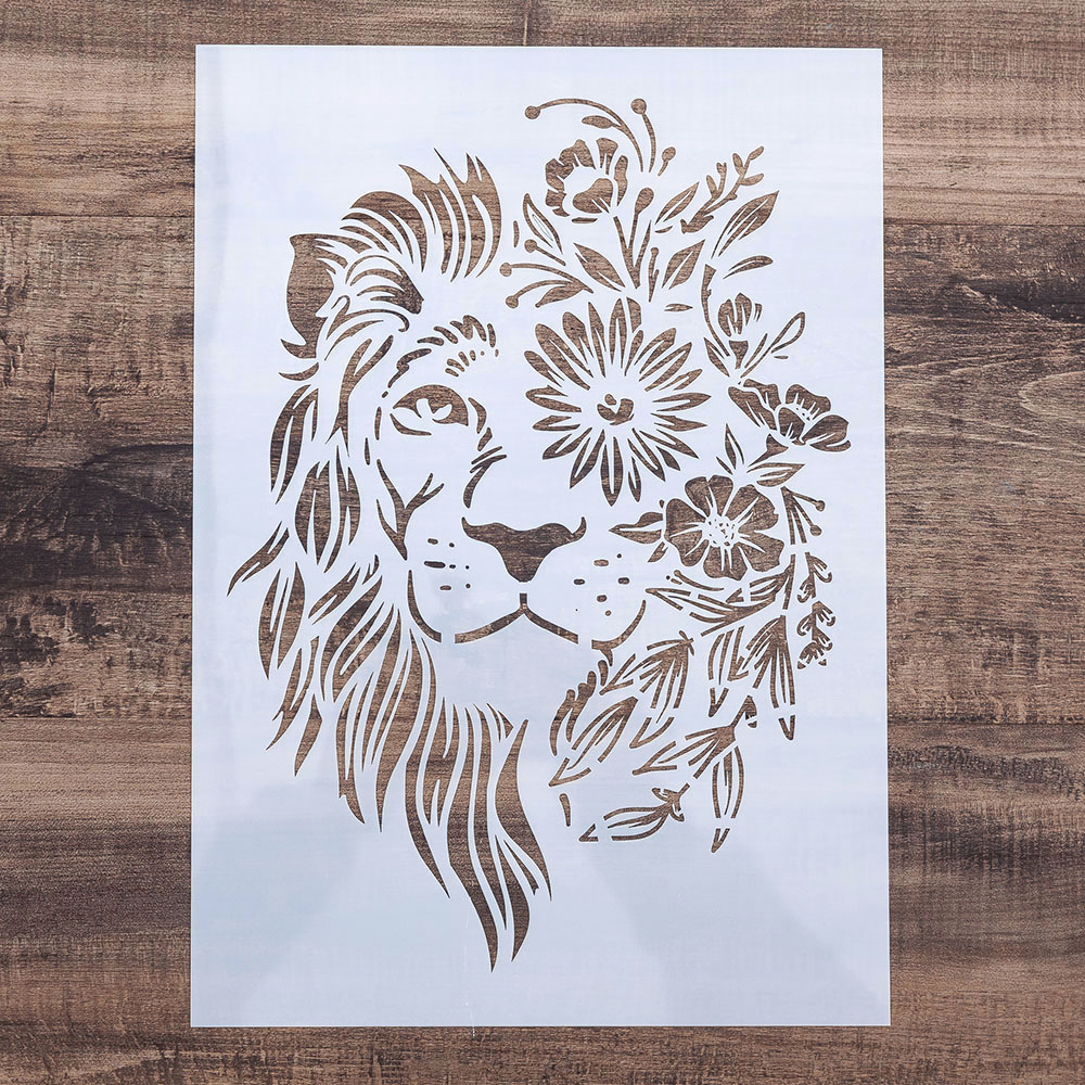 A4 Size DIY Decorative Lion Stencil Template for Painting on Walls Furniture Crafts