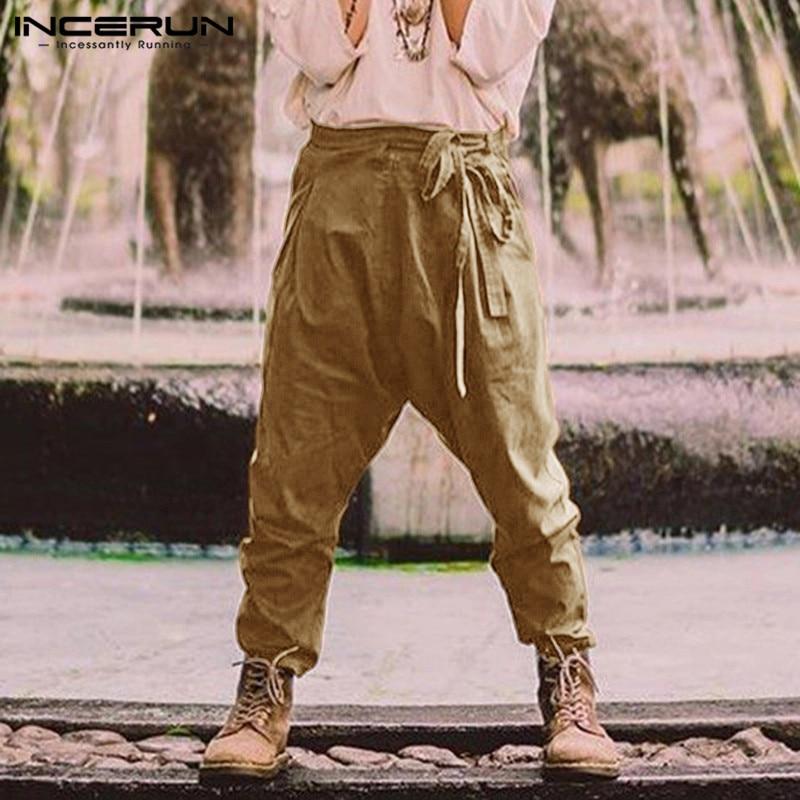 INCERUN Fashion Men Casual Pants Lace Up Zipper Joggers Loose 2019 Trousers Men Solid Color Streetwear With Belt Pants Plus Size