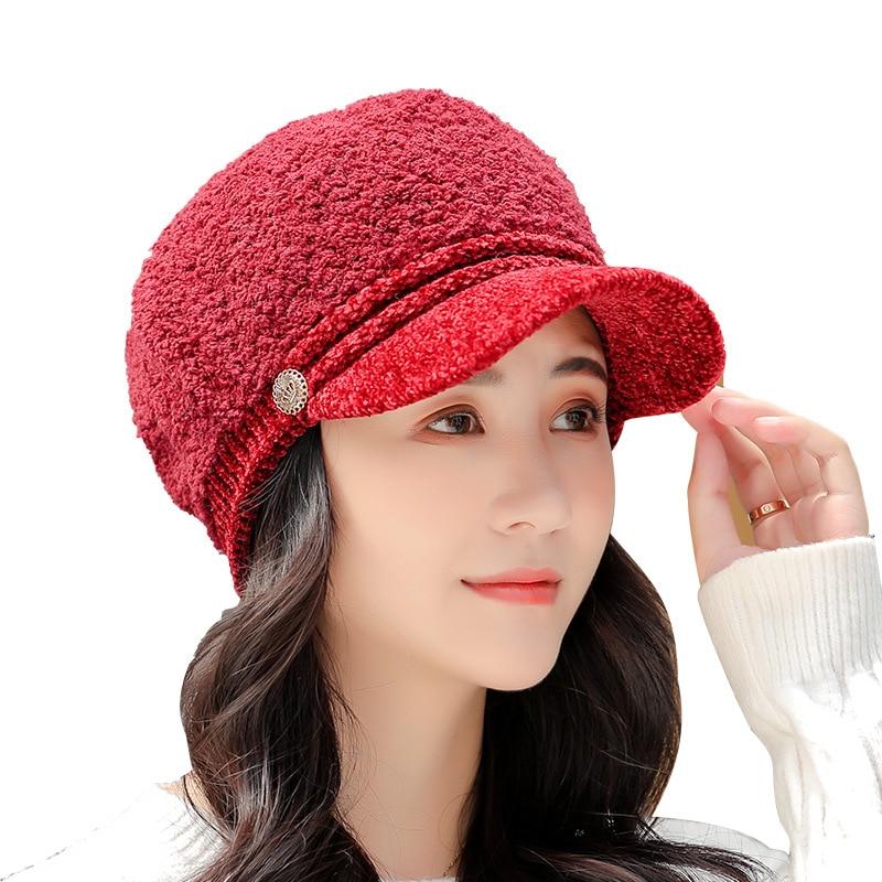 2022 New Hot Octagonal Hats for Women Solid Color Retro Octagonal Caps Soft Newsboy Caps Visor Cap Female Winter Hats Wholesale